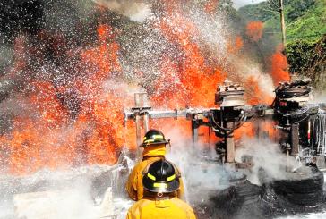 Choque e incendio en la ARC