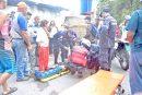 Motorizado cae en Los Barriales por exceso de velocidad