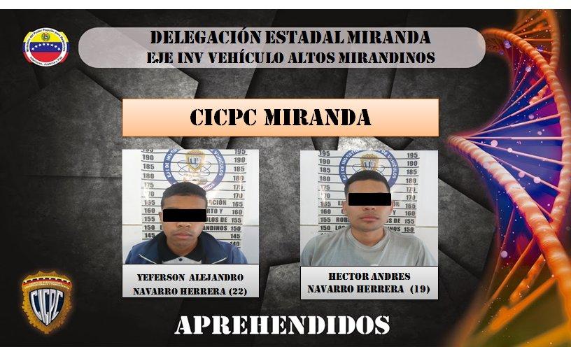 Cicpc capturó a dos hermanos  que robaban a taxista