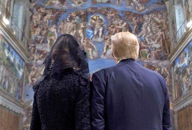 Tras la reunión con el Papa, Donald y Melania Trump visitaron la Capilla Sixtina