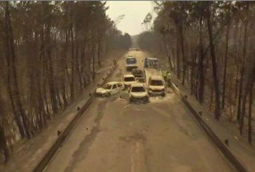Dron captó imágenes de carros atrapados entre gigantesco incendio que dejó 62 muertos