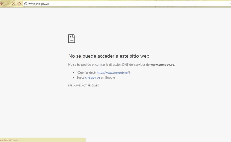 Hackeado portal web del Consejo Nacional Electoral