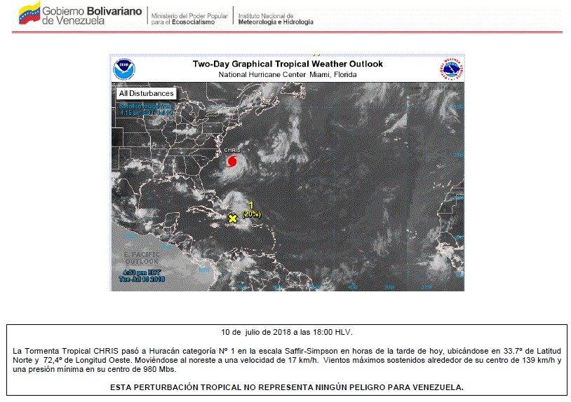 Inameh informó que persistirán precipitaciones en el país por la tormenta tropical Chris